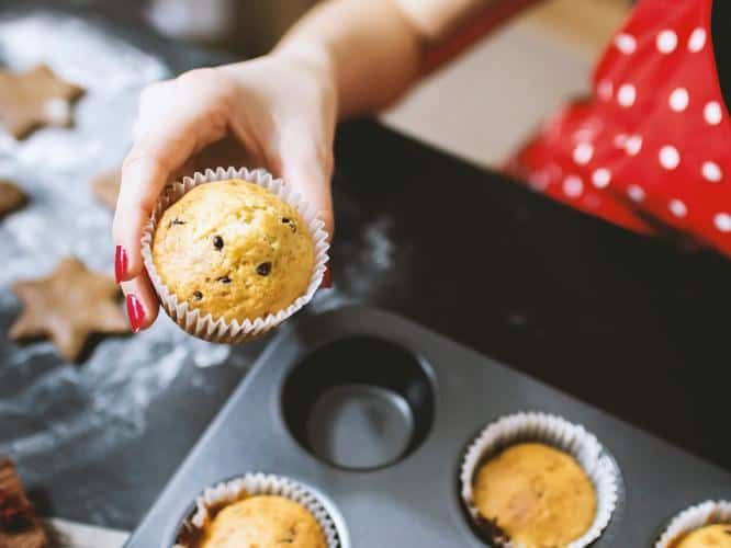 home cooking saves money, save money, economical cooking, mindfulness, baking muffins at home